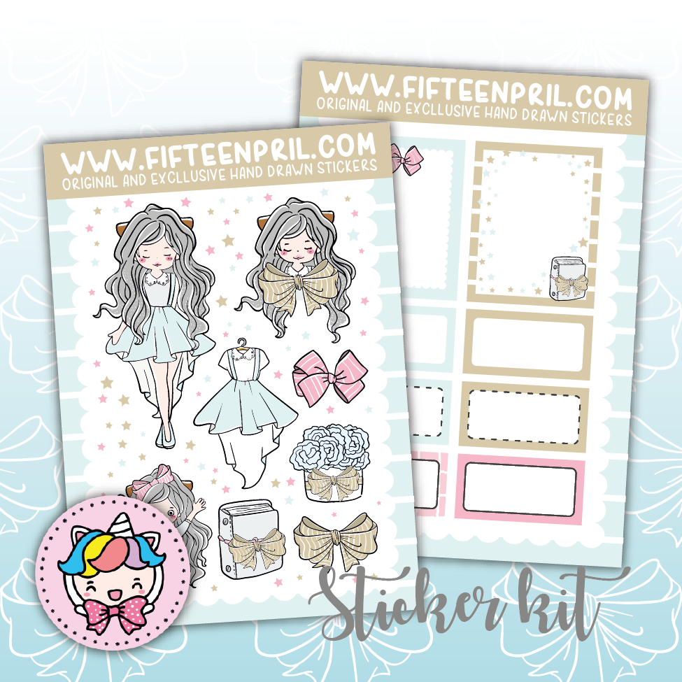 Winter ribbon foxigirl sticker mini kit (Large sheet-A6 size)