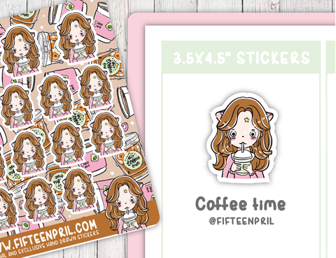 Coffee time foxigirl box sticker