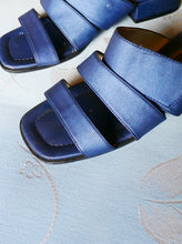 Load image into Gallery viewer, Metallic blue mules