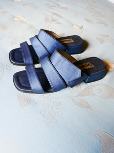Metallic blue mules