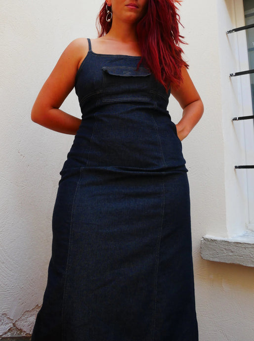 90s denim tank dress