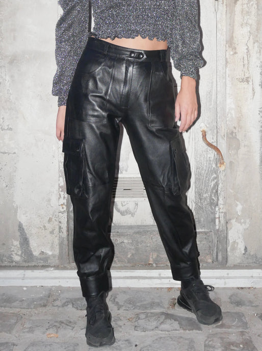 Vintage utility pockets leather pants