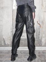 Load image into Gallery viewer, Vintage utility pockets leather pants