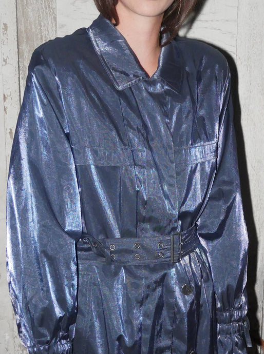 Vintage blue metallic trench