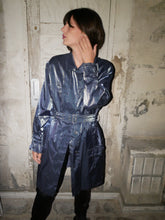Load image into Gallery viewer, Vintage blue metallic trench