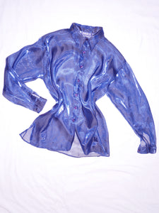 Sheer metallic blue shirt