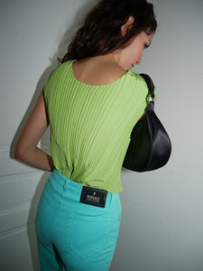 Embossed lime green top