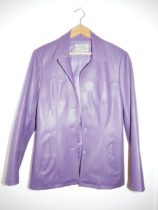 Faux leather lilac jacket
