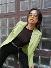 Load image into Gallery viewer, Vintage lime green leather jacket