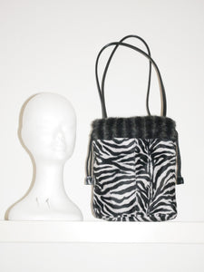 90s fluffy zebra bag