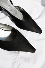 Load image into Gallery viewer, Black satin flanged mules