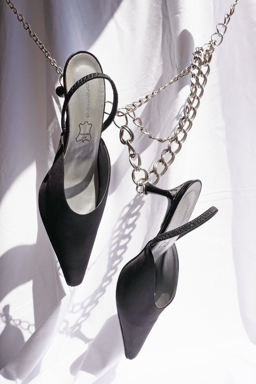 Black satin flanged mules