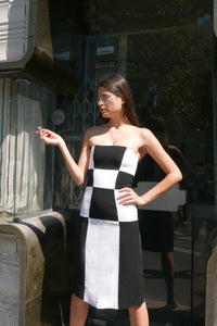 Damier bustier dress