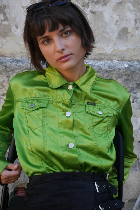 Satin green Diesel jacket