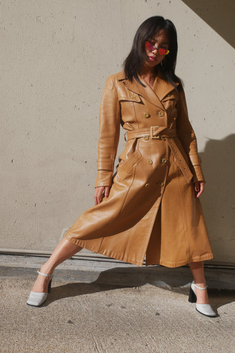 Leather camel coat