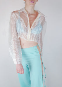 Turquoise cut out pants