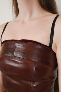 Leather fur top