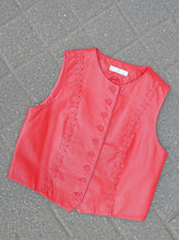 Load image into Gallery viewer, Vintage red leather vest