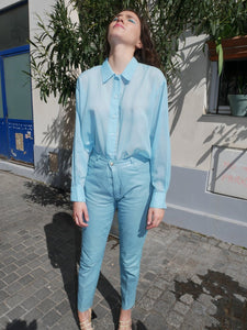 High waisted pastel blue leather pants