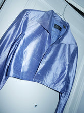 Load image into Gallery viewer, Metallic blue crop shirt