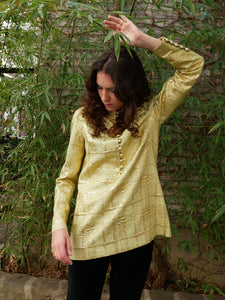 Luxurious indian 70s button up gold top