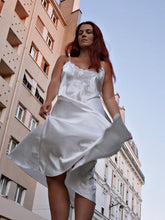 Load image into Gallery viewer, Vintage long satin slip dress