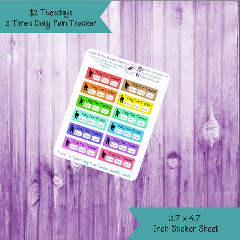 $2 Tuesday 3 Times Daily Pain Tracker Quarter Box