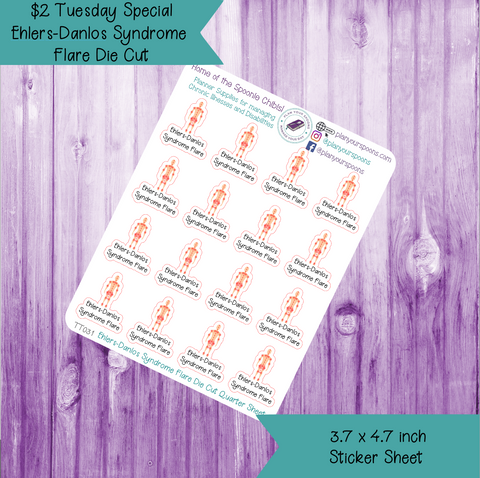 $2 Tuesday Ehlers-Danlos Syndrome Flare Die Cut Stickers