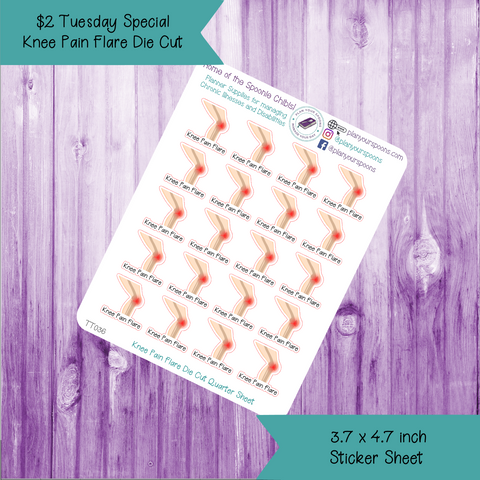 $2 Tuesday Knee Pain Flare Die Cut Stickers