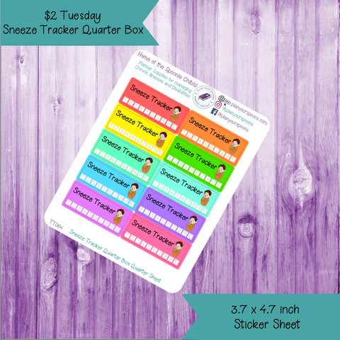$2 Tuesday Sneeze Tracker Quarter Box Stickers