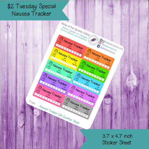 $2 Tuesday Nausea Tracker Quarter Box Sized