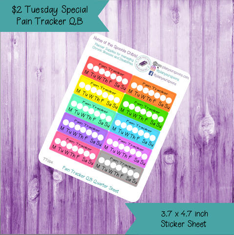 $2 Tuesday Pain Tracker Quarter Box Sized