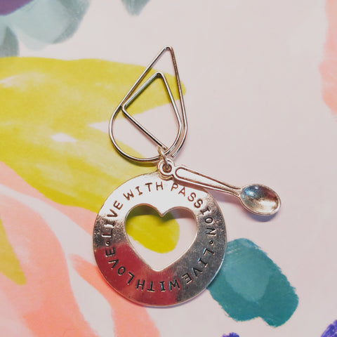 "Plan Your Spoons Planner Clip ""Live With Passion, Live With Love"""
