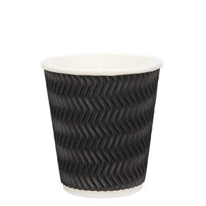 Ripple Wall Coffee Cups-Black-12oz/355ml