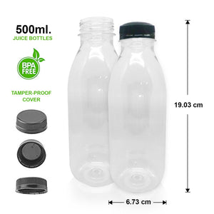 TRANSPARENT WATER&JUICE BOTTLE (500ml) - 19.03cm x 6.73cm
