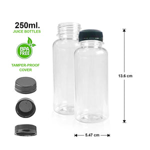 TRANSPARENT WATER&JUICE BOTTLE (250ml) - 13.6cm x 5.47cm