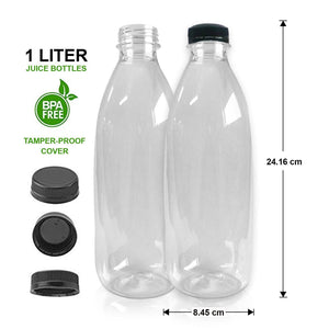 TRANSPARENT WATER and JUICE BOTTLE (1 liter) - 24.16cm x 8.45cm