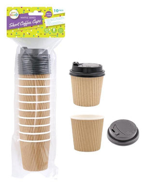 Ripple wall Coffee Cups Brown Lids-4oz/118ml