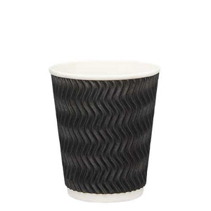 Ripple Wall Coffee Cups-Black-8oz/237ml