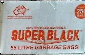 "Garbage Bags ""Super Black""-55 Ltr-250 Pieces"