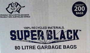 "Garbage Bags ""Super Black""-Heavy Duty-Super Tough-Black-80 Ltr-200 Pieces"
