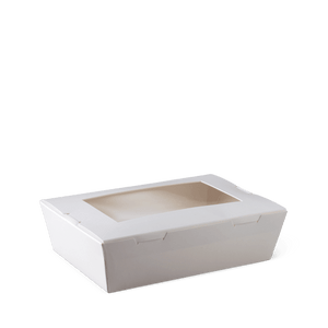 Medium Window White Lunch Box - 180 x 120 x 50mm