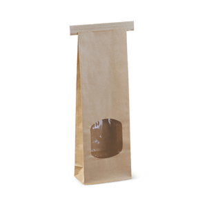 Small  Window Tin-Tie Brown Bag -260 x 88 x 47