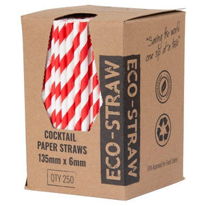 Red and White Cocktail Paper Straws