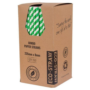 Green White Jumbo Paper Straws