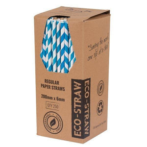 Blue And White Paper Straws