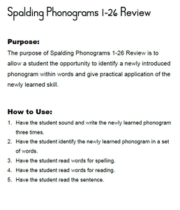 HES1: Home Educator Spalding Spelling Lesson Student Materials: First