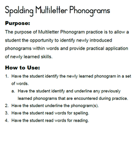 HES2: Home Educator Spalding Spelling Lesson Student Materials: Second