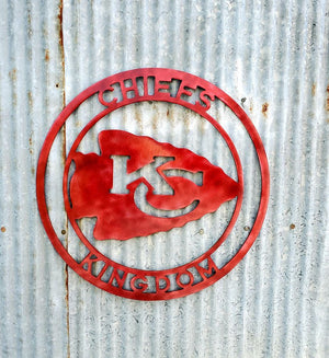KC Chiefs Kingdom Mancave Metal Sign - LAG Metal Worx