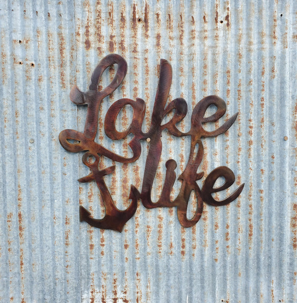 Lake Life with Anchor Beautiful Solid Steel Home Decor Metal Art Wall Sign - LAG Metal Worx